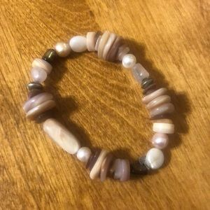 Siplada stretch pink and brown bracelet.